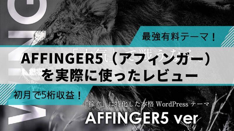 【無料特典付き】アフィンガー5レビュー!今最も売れてるおすすめテーマ!