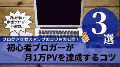 初心者ブロガーが月1万PVを達成するコツ3つ!【ブログのアクセスアップ方法】