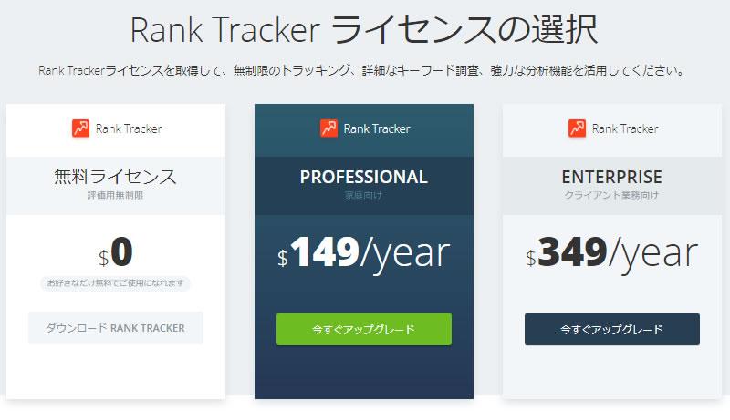 RankTracker(ランクトラッカー)の料金について